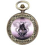 Reloj de bolsillo de cuarzo vintage para hombres, relojes de bolsillo con diseño de calavera de tigre dragón para hombre, reloj colgante de bronce clásico para niños, reloj de pared con reloj de