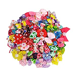 Scicalife 50pcs Dog Bows with Rubber Bands-Pet Cat Dog Hair Bows Multicolor Rhinestone Beads Flowers Topknot Puppy Bows(Mixed Color)
