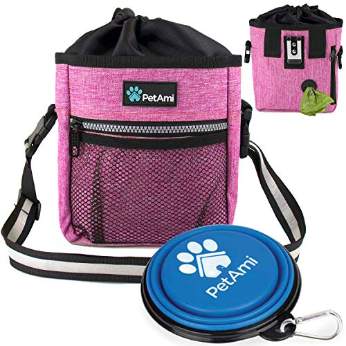 PetAmi Dog Treat Pouch | Dog Training Pouch Bag with Waist Shoulder Strap, Poop Bag Dispenser and Collapsible Bowl | Treat Training Bag for Treats, Kibbles, Pet Toys | 3 Ways to Wear (Pink)