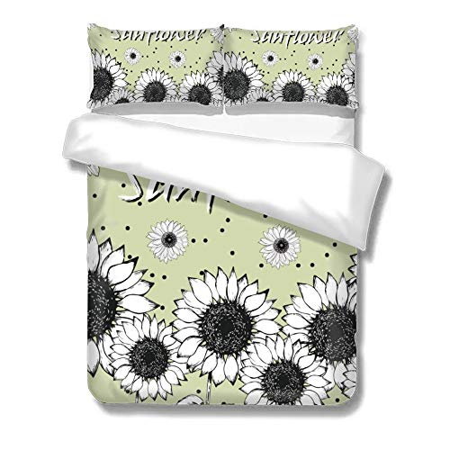 No Branded Quits Double Covers, Black-and-white Floral Design Sunflower Green, Bedding Sets Double, Decorative Soft Microfiber Comforter Cover with 2 Pillow Shams,Zippered, Colorful 3 Pieces