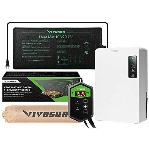 VIVOSUN Electric Mini Auto Defrost Dehumidifier 2200ML Water Tank and 10'x20.75' Seedling Heat Mat and Digital Thermostat Combo Set