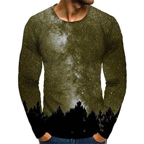 Mr.1991INC&Miss.GO T-Shirt A Maniche Lunghe con Stampa 3D Star Tree Girocollo da Uomo Autunno