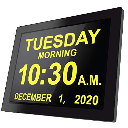 [2020 Version] 16 Reminders, Custom Alarms Electronic Clock Day Calendar Large Clocks Dementia Alzheimers Sufferers Elderly Seniors Memory Loss Impaired Vision-Black