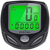IREGRO Bicicleta Cuentakilometros Bicicleta Velocimetroautomático Despertador LCD Pantalla Impermeable Wireless Bicicleta velocímetro, odómetro de Bicicleta de la Bici
