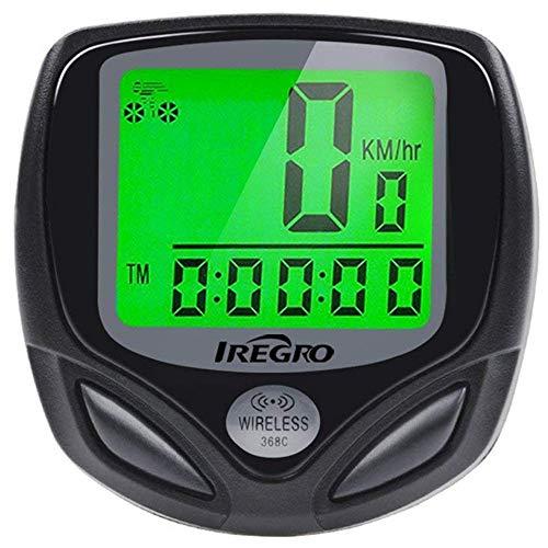 IREGRO Fahrradcomputer, Fahrrad Tachometer, Fahrrad Kilometerzähler, Kabellos, Wasserdichter, LCD-Hintergrundbeleuchtung, Automatisches Aufwecken und 16 Funktionen
