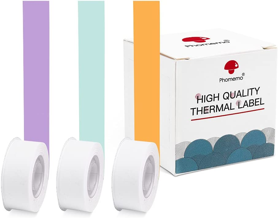 Phomemo Adhesive Thermal Paper, Color Continuous Paper, 15mm X 6m (1/2 in X 20 Ft) for Phomemo D30 Cute Label Maker-Mint Green, Orange, Purple