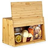 Homfa Bread Box Under 30, Bamboo Bread Boxes for Kitchen Counter Bread Storage Containers with Cutting Board Lid for Loaves, Homemade Bread, Pastries, Pancake, Cookies 14.96 x 7.48 x 9.45 Inchs