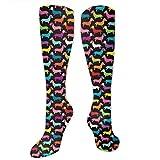 Calcetines de entrenamiento retro perros salchicha tripulación atlética calcetines largos deportivos calcetines de fútbol suaves para hombres mujeres