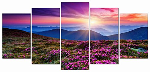 Wieco Art Mountains in Sunrise 5 Panels Giclee Canvas Prints Wall Art Purple Landscape Pictures Photo Paintings for Living Room Bedroom Home Decorations Modern Stretched and Framed Grace Artwork