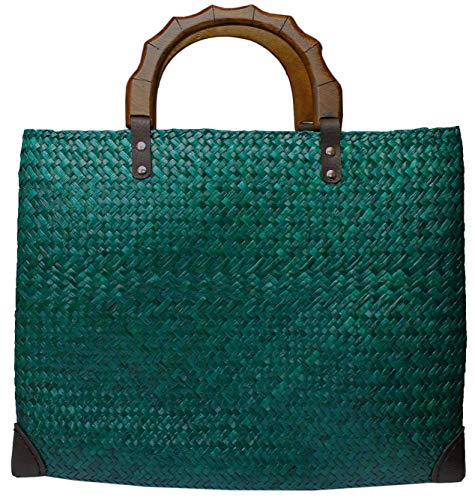 Rotfuchs Bolso de mujer de paja para la compra o la playa, de verano, hecho a mano de junco