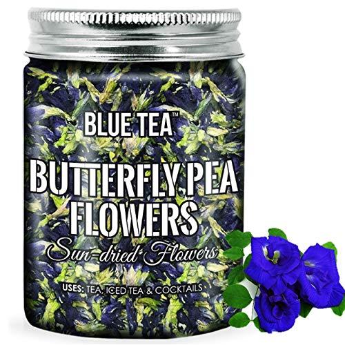 BLUE TEA - Butterfly Pea Flower Tea , Iced Teas, Coolers, Cocktails (50 Grams - 100 Tea Cups + 100 Drinks) | Herbal Tea in Food Grade PET Plastic Bottle