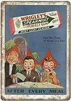 Wrigley's Spearmint Mint Leaf Gum メタルポスター壁画ショップ看板ショップ看板表示板金属板ブリキ看板情報防水装飾レストラン日本食料品店カフェ旅行用品誕生日新年クリスマスパーティーギフト