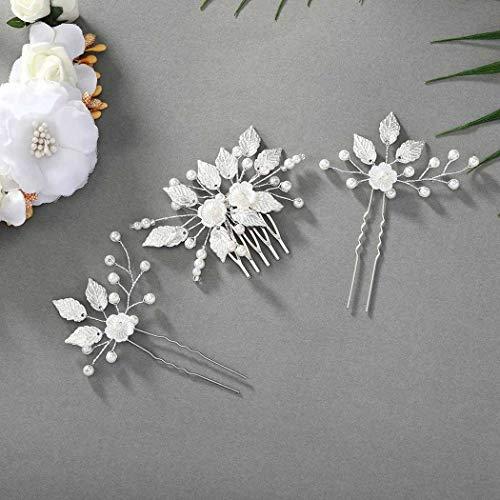 Forall Braut Blume Haarkamm Silber Perle Braut Haarnadeln Hochzeit Haarschmuck Set für Frauen und Mädchen
