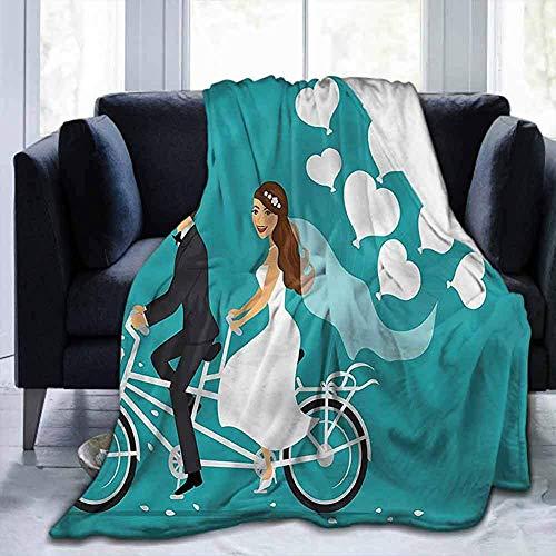 Leisure-Time Decke Decke Hochzeit, Tandem Fahrrad Luftballons, weiche Decken für Kinder