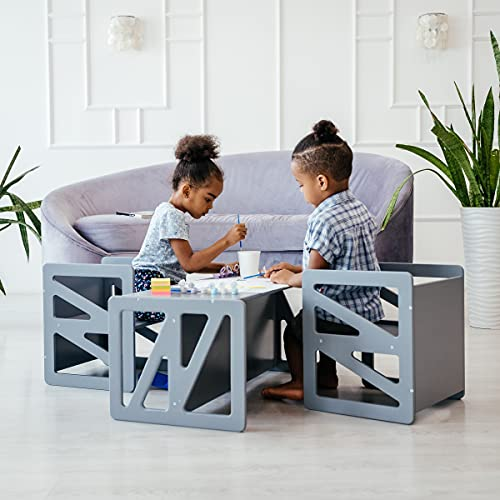 Montessori table for children, wooden table or chair for toddlers, stool cube chair set children's chair children's weaning table weaning chair (White)