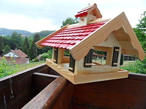 Arbrikadrex Almhütte XXL Futtersilo Futterhaus Schreinerware Holz Vogelfutter Vogelhaus Vogelvilla Vogel Futterspeicher (Almhütte XXL Rot)