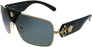 Squared Baroque VE 2207Q 100287 Gold Black Leather Metal Square Sunglasses Grey Lens