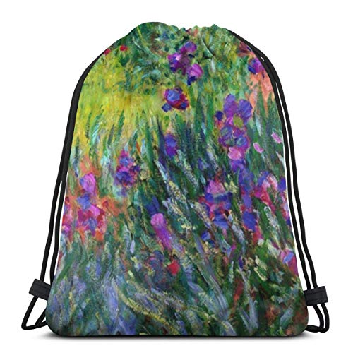 Bag hat The Iris Garden In Giverny Claude Monet Fine Art 3D Print Drawstring Backpack Rucksack Shoulder Gym for Adult 16.9'X14'