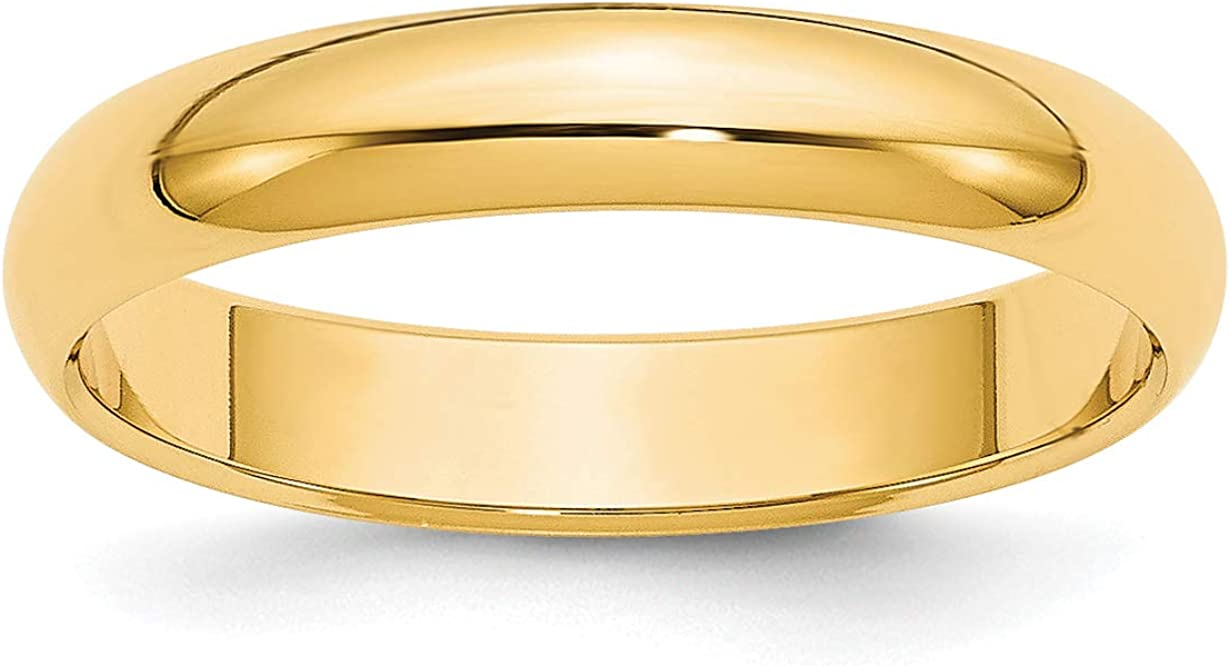 Solid 14k Yellow Gold 4 mm Classic Rounded Wedding Band Ring