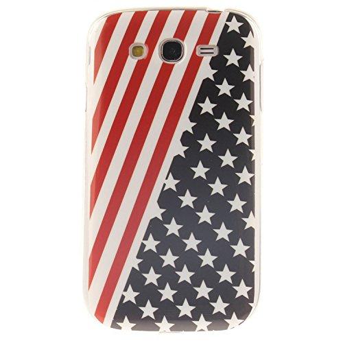 Guran® Custodia in Silicone per Samsung Galaxy Grand Neo Plus/Grand Neo Smartphone Morbida TPU Gel Gomma Cover Case-Stelle e Strisce