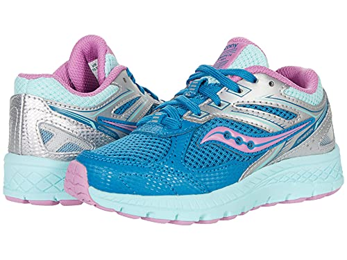 Saucony Cohesion 14 Lace to Toe Running Shoe, Turq/Pink, 3.5 US Unisex Big Kid