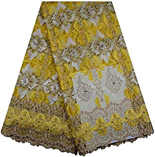 French Lace Fabric- African Lace Fabrics Nigerian Embroidery Lace French Mesh Lace Fabric Material Style Tulle Lace 880 - (Color : 7)