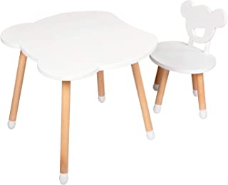 Kinbor Baby Kids Beech Wood Table and Chair Set- 1 Children Bear Seats with 1 Bear Tables Set Little Kid Children Furniture Accessories