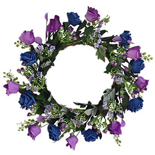 Cgration Künstliche Blumen Blau und Lila Rosenkranz Frühlingskranz Outdoor für Haustür Wand Fenster Party Hochzeit Dekor