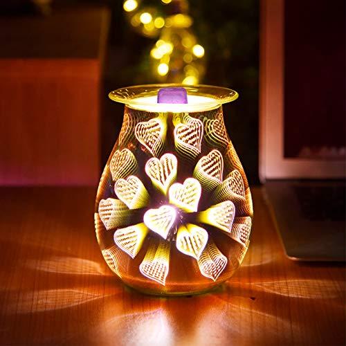 TiooDre Duftlampe Wachs 3D Feuerwerk Scentsy Duftlampe Energie Sparen Duftlampe Elektrisch Duftlampe Teelicht Elektrisch Duftöl Lampe für Home Office Schlafzimmer Geschenke (3D Heart Shape)
