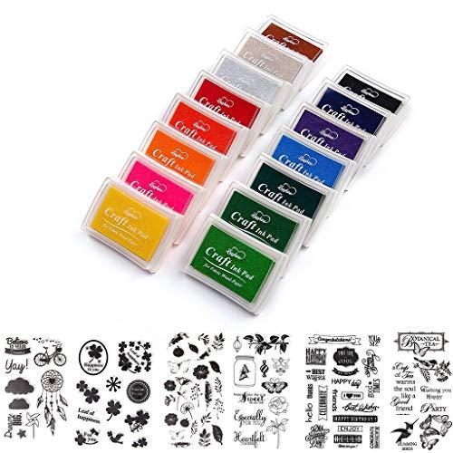 Amycute 26 colores niños pintura de dedos y Sello de silicona para niños, Almohadillas de tinta huellas dactilares Pad Lavable Scrapbooking tarjeta fabricación decoración