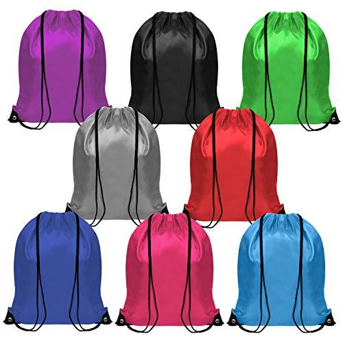 BELLE VOUS Mochila de Cuerdas (Pack de 8) - 41,5cm x 35cm MochilaBolso Unisex Gimnasio Deportiva para Hombres y Mujeres, Chicas y Chicos - Mochilas de Cuerdas para Gimnasia, Escolar, Playa y Viaje