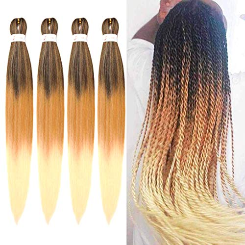 jiefeng 8 Bundles Pre stretched Braiding Hair Extensions for Women 26 Inches Yaki Texture Professional Crochet Twist Braids Hair Synthetic Hair for Braids (26'', black to light brown to beige)