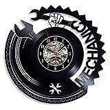 BFMBCHDJ Reloj de Pared de Disco de Vinilo mecánico Diseño Moderno Herramienta de reparación de automóviles Mecánica Decoración 3D Relojes de Vinilo Reloj de Pared Decoración para el hogar