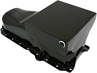 Assault Racing Products A9732PBK Small Block Chevy Black Drag Style 7qt Oil Pan 1-Piece Rear Main SBC 86+