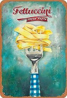 Inconnu Fettuccine Fresh Pasta Enseigne en étain rétro métal Peint Art Affiche décoration Avertissement Plaque Bar Garage ...