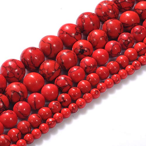 Natural Stone Beads 10mm Red Turquoise Gemstone Round Loose Beads Crystal Energy Stone Healing Power for Jewelry Making DIY,1 Strand 15'