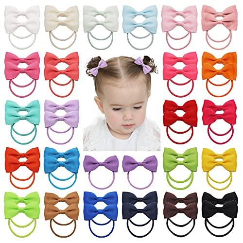 50 unidades de 3,8 cm para bebé, niña, mini lazo de grogrén, banda elástica para el pelo, para niños pequeños, en pares
