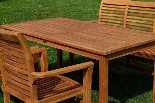 ASS Teak Set: Gartengarnitur Gartentisch 150x80 cm + 1 Bank 150 cm für 3 Personen + 2 Sessel Serie JAV-Alpen - 4