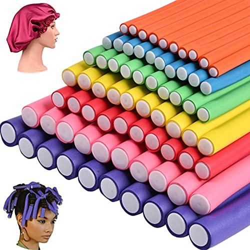 70 Pack 9.4 Inch Flex-rods Hair Rollers+Silk Sleep Bonnet...