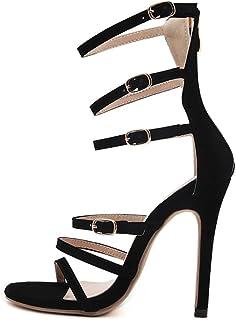 b827e0a0 ZPFMM Sandalias De Las Mujeres Vestido Sexy Zapatos Romanos Hebilla De Tacón  De Aguja Tacones Altos
