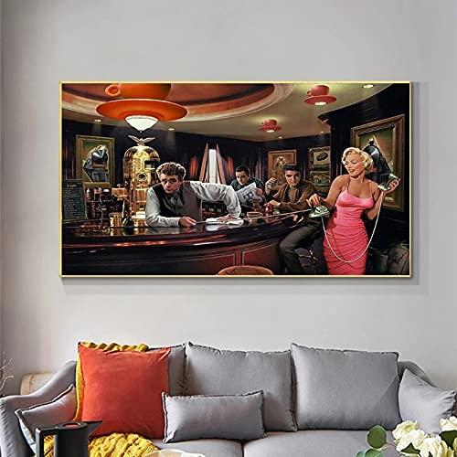 Póster de lienzo retrato de Elvis Presley James Dean Pop arte de pared lienzo póster Graffiti decoración artística para el dormitorio 40x70 CM (sin marco)