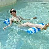 BADIQI Swimming Inflatable Pool Float,Multi-Purpose Pool Hammock (Lounge Chair,Saddle, Hammock, Drifter), Portable Water Hammock,Pool Chair(Blue/White