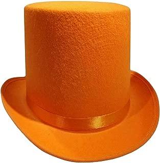 Tall Deluxe Felt Top Hat, Orange, One Size