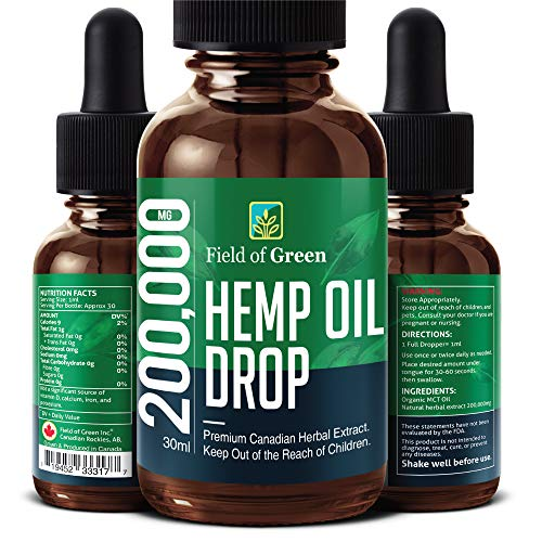 Field of Green Hempseed Oil – Grown & Made in Canada (200,000MG) Anti-Anxiety and Anti-Stress, Natural Dietary…