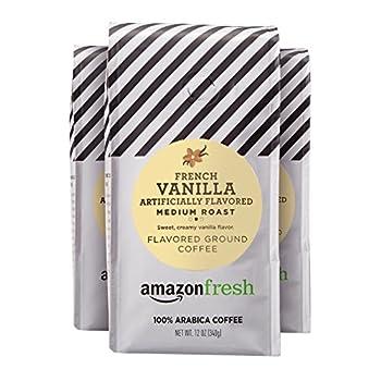 AmazonFresh French Vanilla Flavored Coffee Ground Medium Roast 12 Ounce  Pack of 3