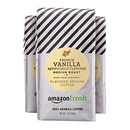 AmazonFresh French Vanilla Flavored Coffee, Ground, Medium Roast, 12 Ounce (Pack of 3)