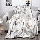 Marble Texture Design with Golden Geometric Lines Fleece Flannel Throw Blanket Sherpa Microfiber Lightweight Plush for Couch Bed Sofa Car Kids Adults Pets All Seasons Multi-Size 60x80IN for Adult