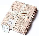 "Sweet Acorn Knitted Baby Blanket, Organic Cotton Yarn, 30"" x 43.5' (Peony)"