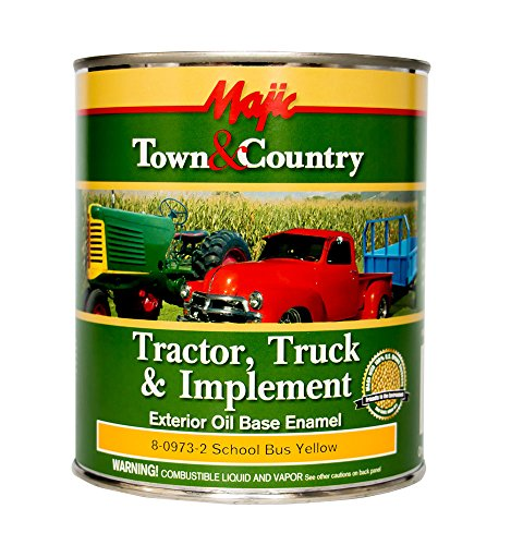 Majic Paints 8-0973-2 Town & Country Tractor, Truck & Implement Oil Base Enamel Paint, 1-Quart, School Bus Yellow