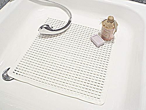 Papillon Tapis de douche antidérapant Avec picots massants En PVC 53 x 53 cm Blanc
